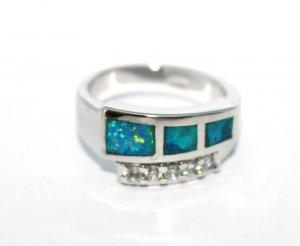 טבעת משובצת אופל כחול כסף 925