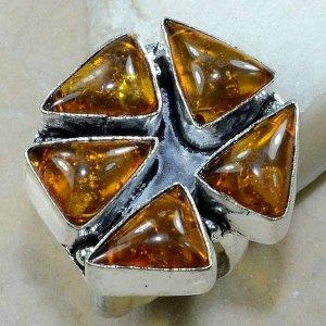 טבעת משובצת ענבר כסף 925 מידה: 7.75