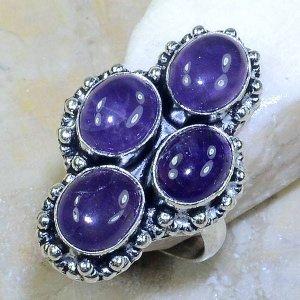 טבעת משובצת 4 אבני אמטיסט כסף 925 מידה: 9.25