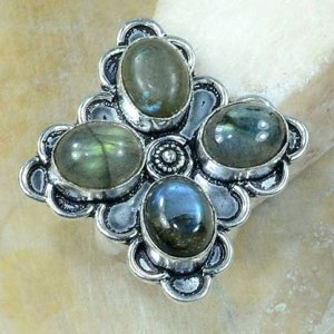 טבעת משובצת 4 אבני לברדורייט כסף 925 מידה:9.25