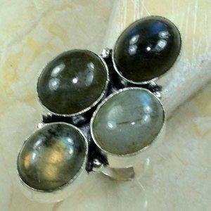 טבעת משובצת 4 אבני לברדורייט כסף 925 מידה: 5