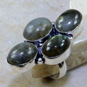 טבעת משובצת 4 אבני לברדורייט כסף 925 מידה: 7