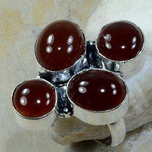 טבעת משובצת 4 אבני קרנליאן כסף 925 מידה: 8.25