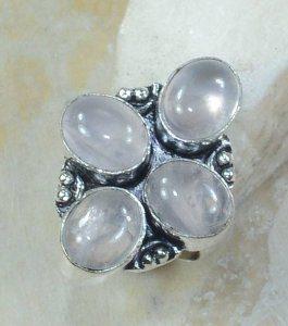 טבעת משובצת 4 אבני רוז קוורץ כסף 925 מידה: 6.5