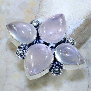 טבעת משובצת 4 אבני רוז קוורץ כסף 925 מידה: 7.5