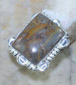 טבעת משובצת ג'ספר אוטומן כסף 925 מידה: 6.5
