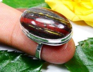 טבעת משובצת טייגר אירון כסף 925 מידה: 4.5