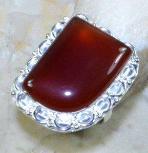 טבעת משובצת קרנליאן כסף 925 מידה: 9