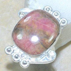 טבעת משובצת רודונייט כסף 925 מידה: 7.25