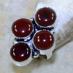 טבעת משובצת קרנליאן כסף 925 מידה: 5.75