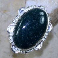 טבעת משובצת ג'ספר ירוק כסף 925 מידה: 6