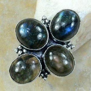 טבעת משובצת 4 אבני לברדורייט כסף 925 מידה: 6