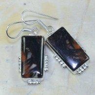 עגילים בשיבוץ ג'ספר חום שחור כסף 925