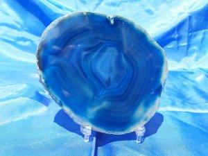 פרוסת אגט כחול עמוק וירקרק