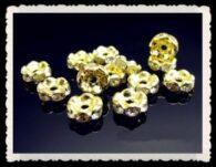 """תכשיטנות: 10 חרוזי זהב וקריסטל 6 מ""""מ"""