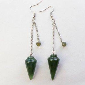 עגילי אגט ירוק עיצוב מטוטלת