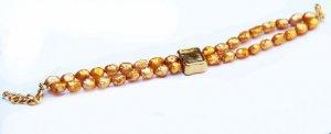 צמיד פנינים זהב 2 שורות קישוטים וסוגר מוזהב