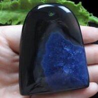תליון אגט שחור כחול מיוחד