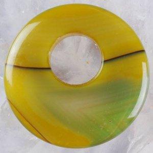 תליון אגט אוניקס ירוק צהב עיצוב בייגלה