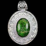 תליון ג'ספר ירוק מוכסף עיצוב מיוחד
