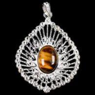 תליון באבן טייגר אי זהב מוכסף עיצוב מיוחד