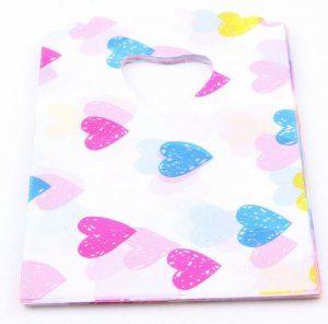 תכשיטנות: 50 שקיות אריזה ידית עיצוב לבבות בגווני ורוד כחול