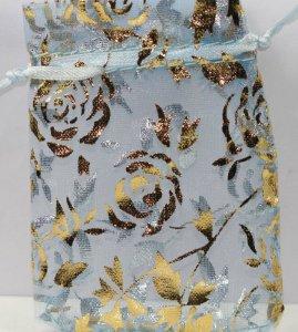 תכשיטנות: 10 שקיקי אורגנזה כחול בעיטור מוזהב פרחים