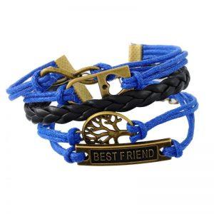 צמיד חישוק עור כחול שחור מעוטר בסמלים: לב, עץ החיים וחבר הכי טוב