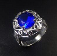 טבעת בשיבוץ קריסטל כחול כסף 925 מידה: 8
