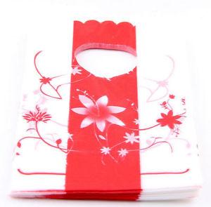 תכשיטנות: 50 שקיות אריזה עם ידית עיצוב פרחים אדום לבן