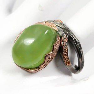 טבעת בשיבוץ פרינהייט עבודת יד כסף ציפוי זהב ורודיום שחור