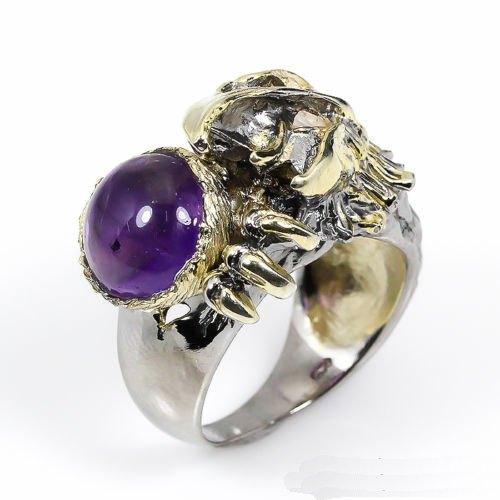 טבעת בשיבוץ אמטיסט עיצוב נשר עבודת יד כסף וציפוי זהב