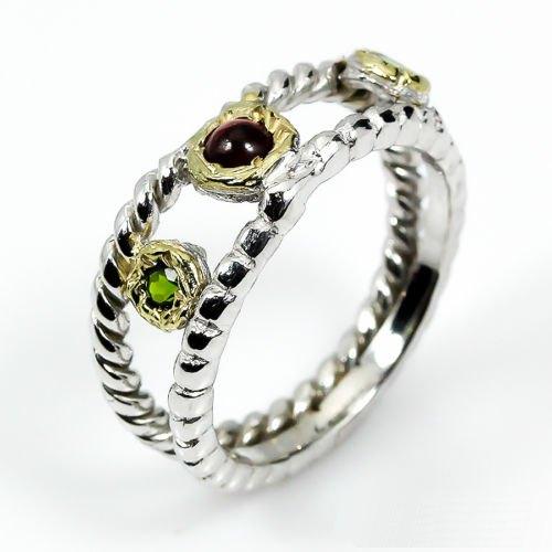 טבעת בשיבוץ גרנו ודיופטז עבודת יד כסף וציפוי זהב