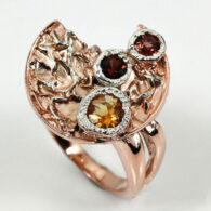 טבעת בשיבוץ גרנט וסיטרין עבודת יד כסף וציפוי זהב