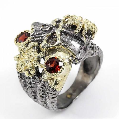 טבעת עבודת יד כסף 925 ציפוי זהב ורודיום שחור בשיבוץ אבני גרנט(אפריקה) מידה: 9.75 הטבעת: 93.45 קרט