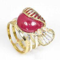 טבעת עבודת יד כסף 925 בציפוי זהב בשיבוץ אבן רובי (מוזמביק) 12 קרט אבן מידה: 8.5 הטבעת: 54.15 קרט
