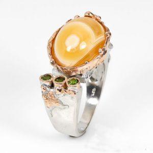 טבעת עבודת יד כסף 925 וציפוי זהב בשיבוץ אבני אגט (אפריקה) ודיופטיז מידה: 8.5 הטבעת: 60.7 קרט