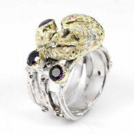 טבעת עבודת יד כסף 925 וציפוי זהב בשיבוץ אבני אמטיסט (אפריקה) וטורמלין ורוד מידה: 9.25 הטבעת: 84.35 קרט