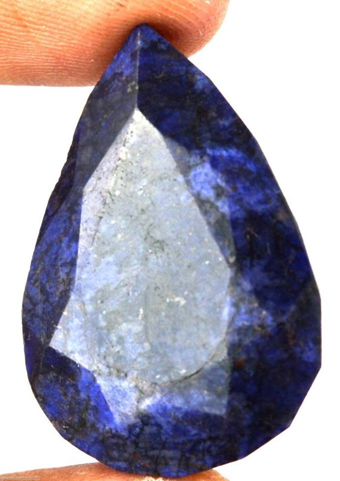 """ספיר כחול מלוטש לשיבוץ (אפריקה) 64 קרט מידות: 11*23*33 מ""""מ עיצוב טיפה"""