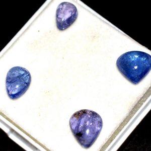 אבן חן: 4 יחידות טנזנייט מלוטש לשיבוץ (טנזניה) 9.30 קרט