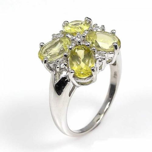 טבעת עבודת יד כסף 925 בשיבוץ אבני קוורץ לימון (אפריקה) מידה: 7 הטבעת: 22.3 קרט