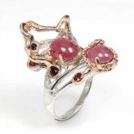 טבעת עבודת יד כסף 925 וציפוי זהב רובי וגרנט (מוזמביק) מידה: 8.5 הטבעת: 45.3 קרט