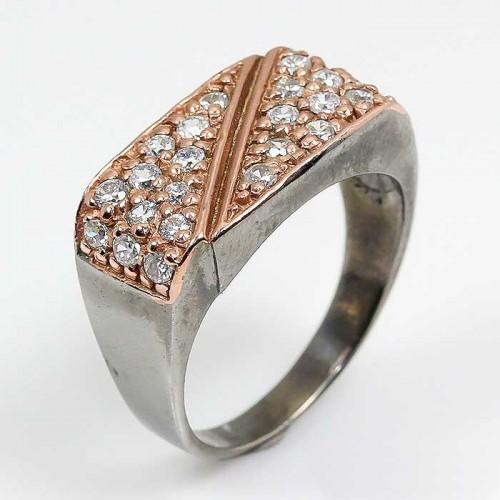 תכשיט יוקרה: טבעת עבודת יד כסף 925 ציפוי זהב ורודיום שחור בשיבוץ אבני טופז כחול (אפריקה) מידה: 8.25 הטבעת: 30.6 קרט
