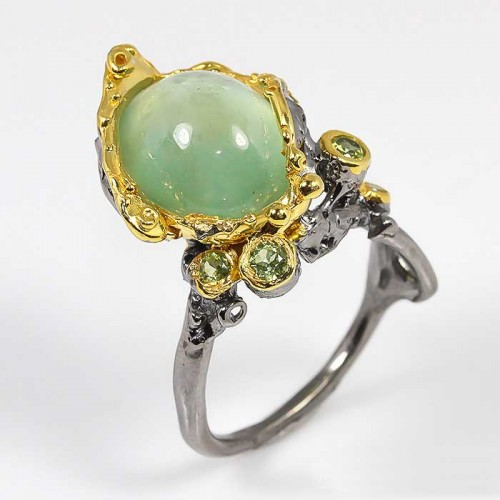 תכשיט יוקרה: טבעת עבודת יד כסף 925 ציפוי זהב ורודיום שחור בשיבוץ אבני פרינהייט ופרידות (אפריקה) מידה: 9 הטבעת: 46.45 קרט