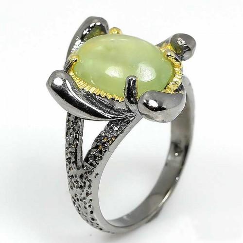 תכשיט יוקרה: טבעת עבודת יד כסף 925 ציפוי זהב ורודיום שחור בשיבוץ אבן פרינהייט (אפריקה) מידה: 8 הטבעת: 35.05 קרט