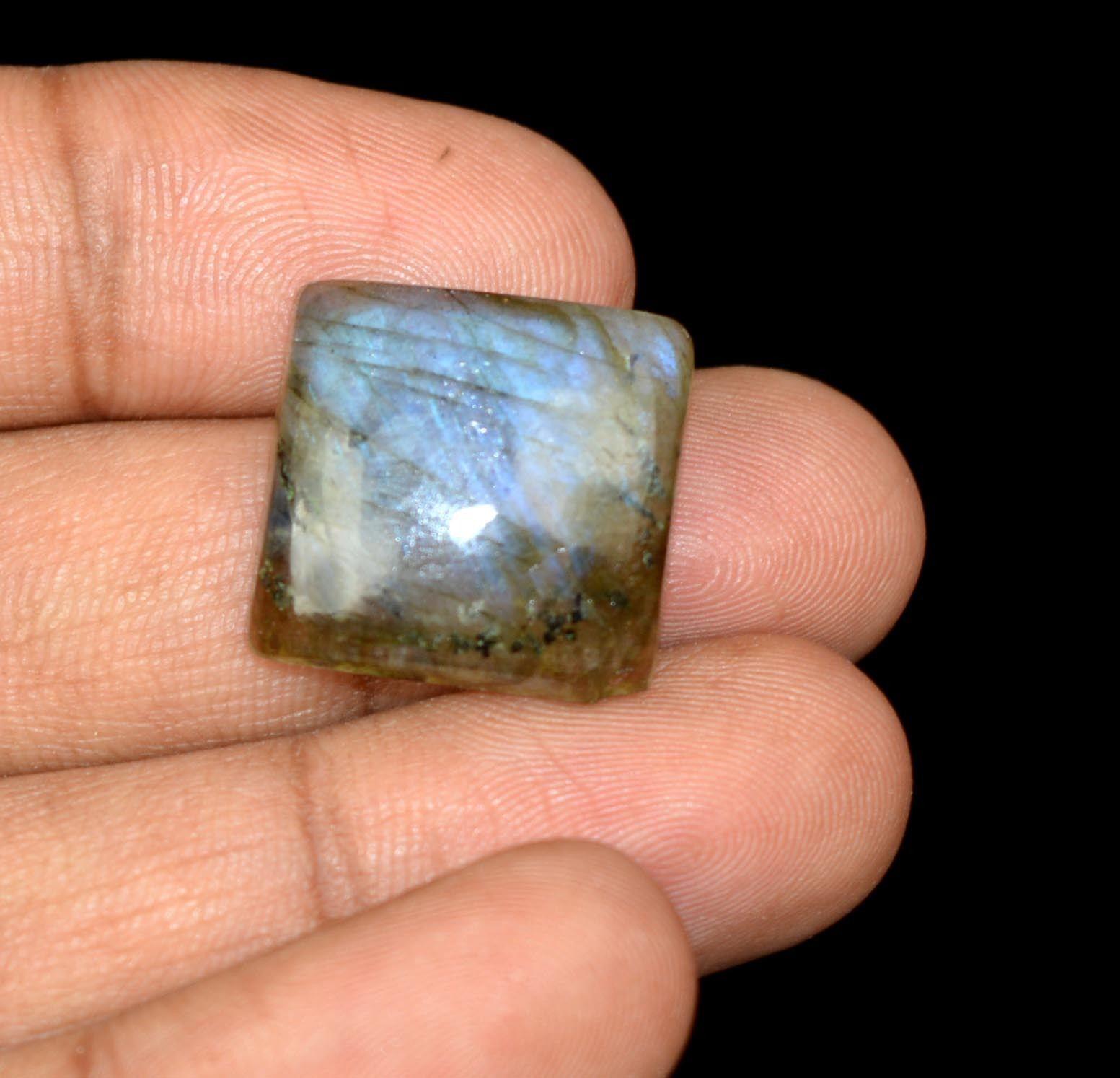 """אבן חן: לברדורייט מלוטש לשיבוץ (מדגסקר) 19.80 קרט מידות: 5*17*18 מ""""מ"""