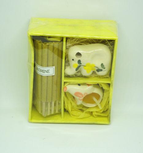 קופסת מתנה נר וקטורת קרמיקה