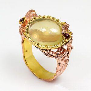 תכשיט יוקרה: טבעת עבודת יד כסף 925 וציפוי זהב מולטי בשיבוץ אבני קוורץ לימוני וגרנט (אפריקה) מידה: 9 הטבעת: 70.3 קרט