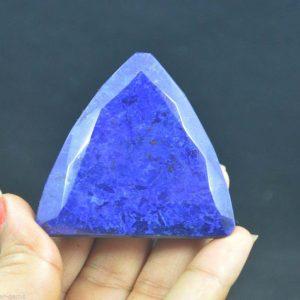"""אבן חן: ספיר מלוטש לשיבוץ (דרום אפריקה) 444 קרט מידות: 18.70*54.12*52.70 מ""""מ"""