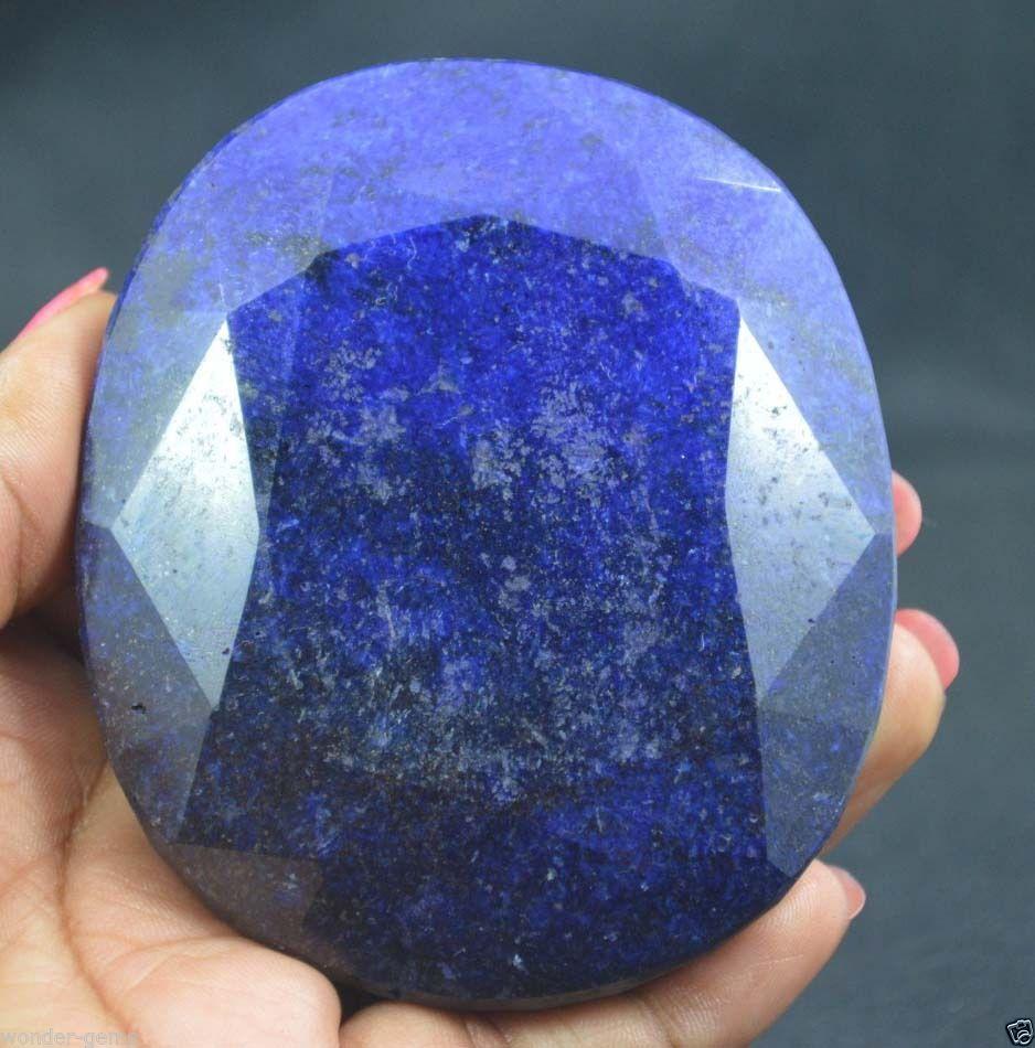 """אבן חן: ספיר גדול מלוטש (דרום אפריקה) תעודה 1650 קרט מידות: 24.02*71.13*82.94 מ""""מ"""